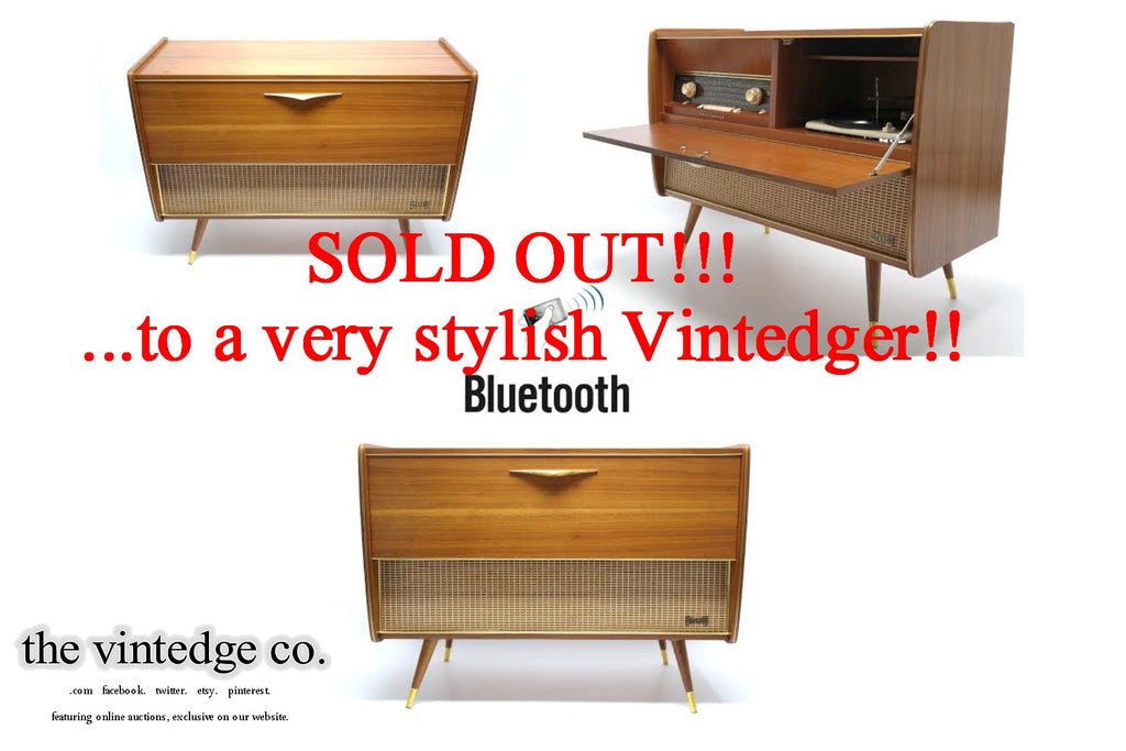 SOLD - MCM STEREO - 60's - Mid Century Telefunkin Record Player - Bluetooth iPod iPhone Android Input AM/FM Tuner