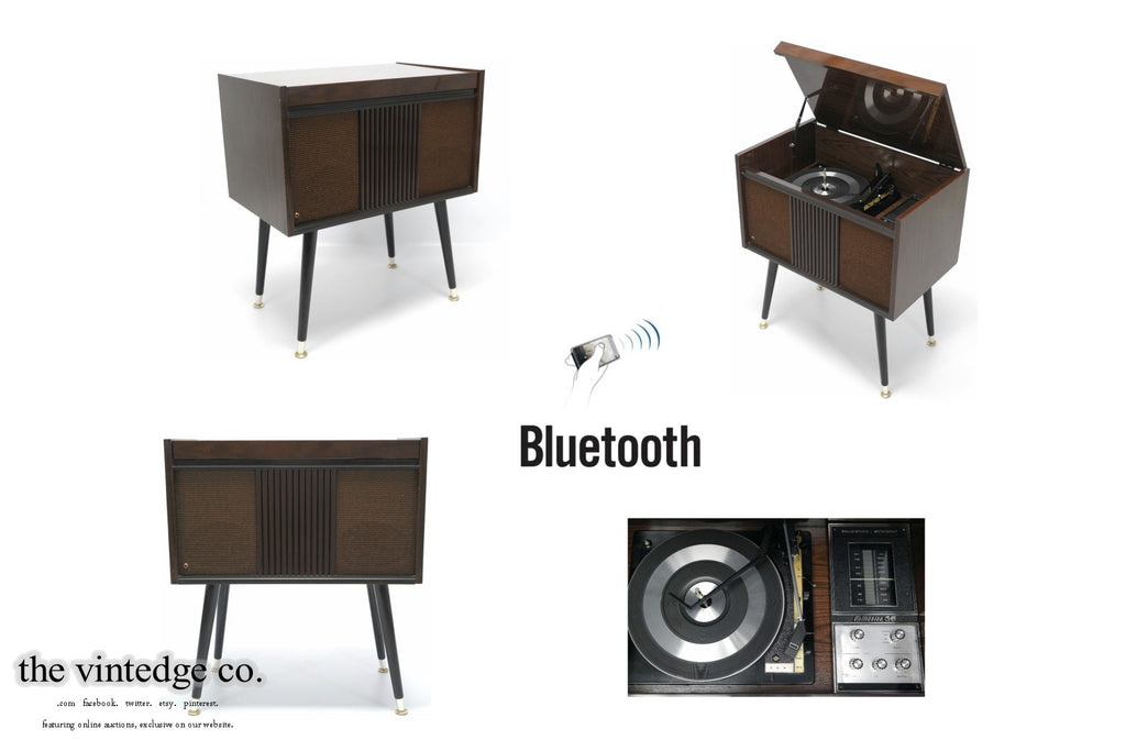 SOLD - MCM STEREO - 60's Mid Century Delmonico Consolette Record Player - Bluetooth iPod iPhone Android Input AM/FM Tuner