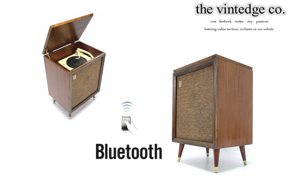 SOLD - MCM STEREO - 60's Mid Century Consolette Record Player - Bluetooth iPod iPhone Android Input AM/FM Tuner