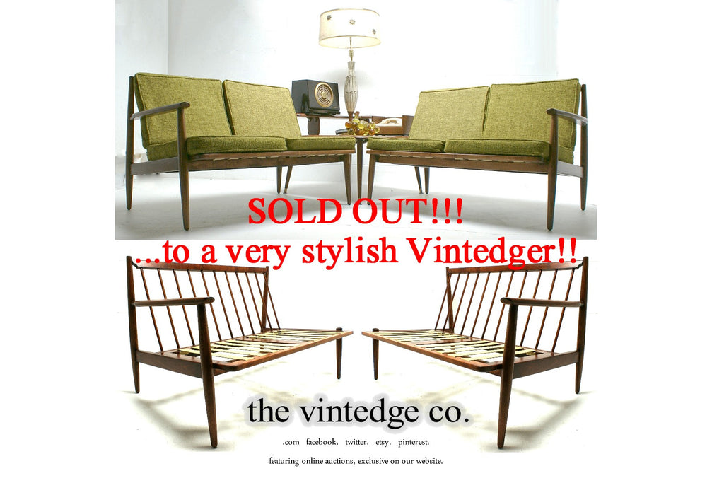 SOLD - 60's Mid Century Split Sofa Chair S/2