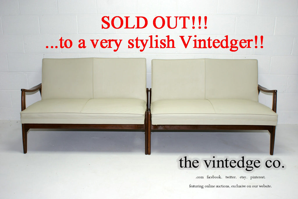 SOLD - 60's Mid Century Ivory Split Sofa Chair S/2