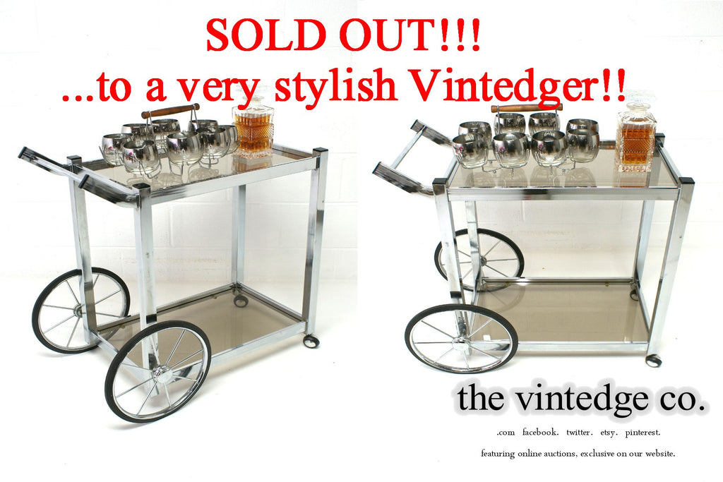 SOLD - MCM 60's Chrome Bar Cart