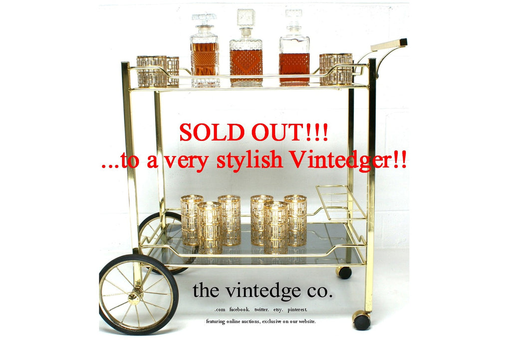 SOLD - MCM 60's Brass Bar Cart
