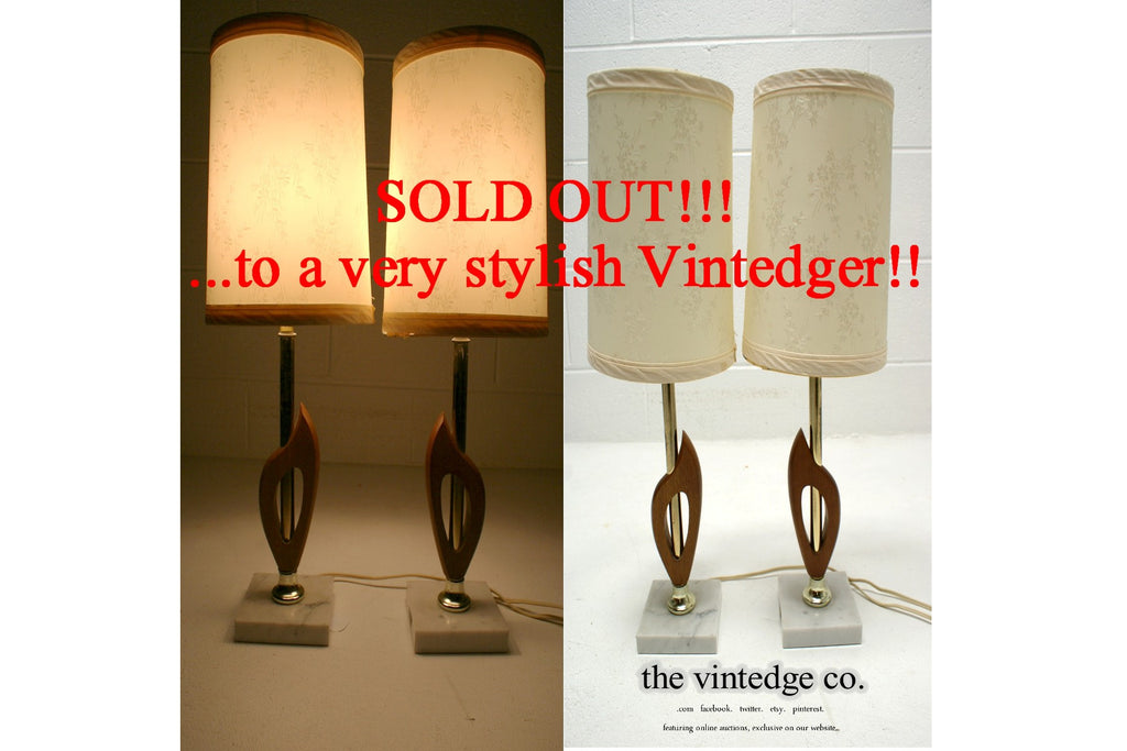 SOLD - MCM Industrial Lamp Teak Lamp Pair