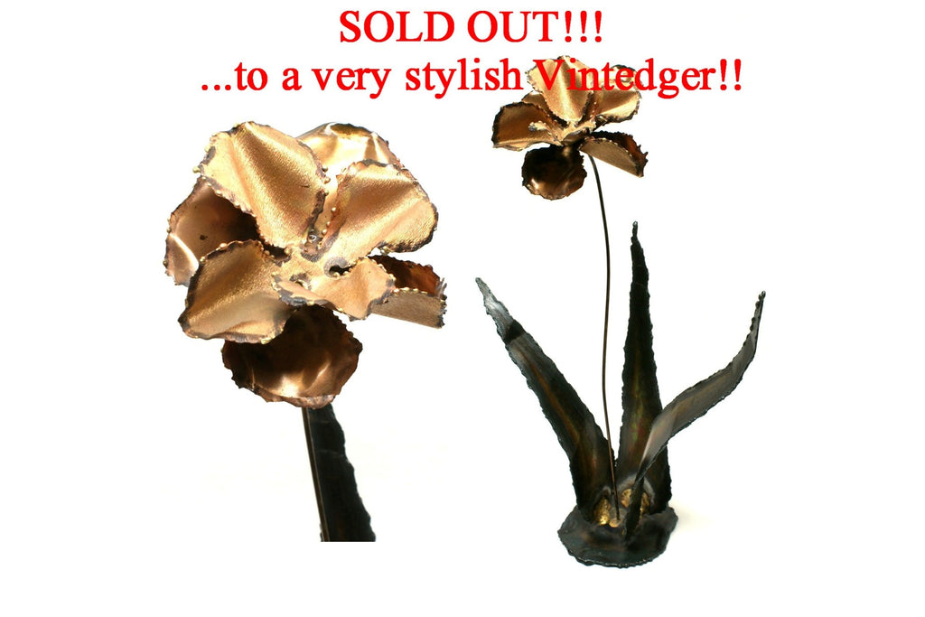 SOLD - MCM Brass Decor Lotus Metal Flower