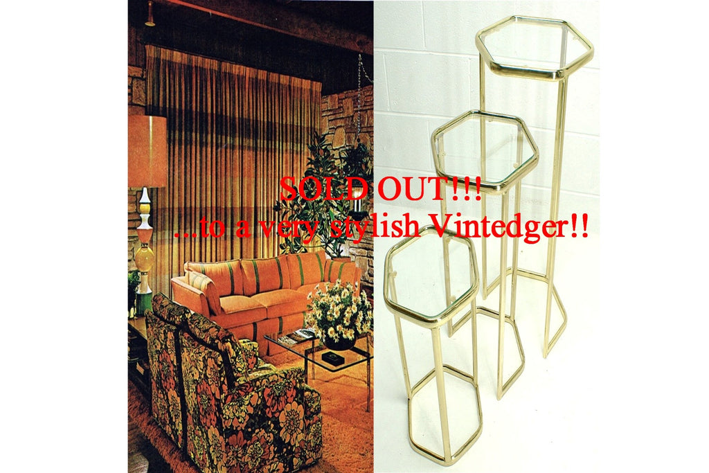 SOLD - 1950's MCM Brass Glass Nesting Tables S/3