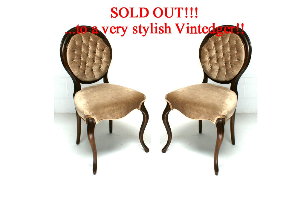 SOLD - Victorian Tufted Chairs S/2