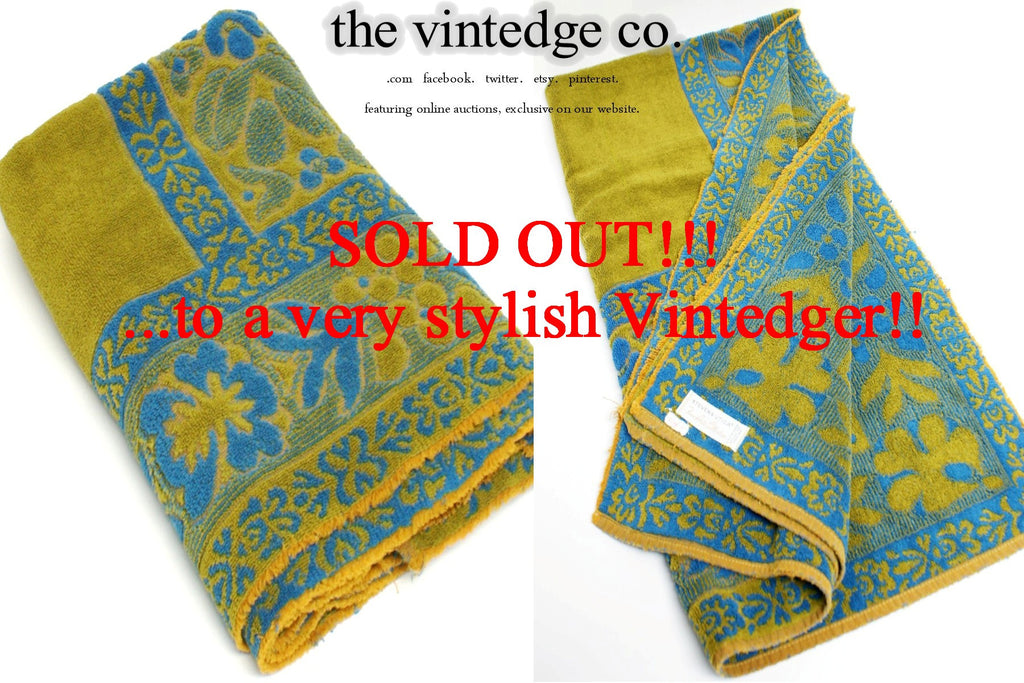 SOLD - Vintage Towel Blue Green