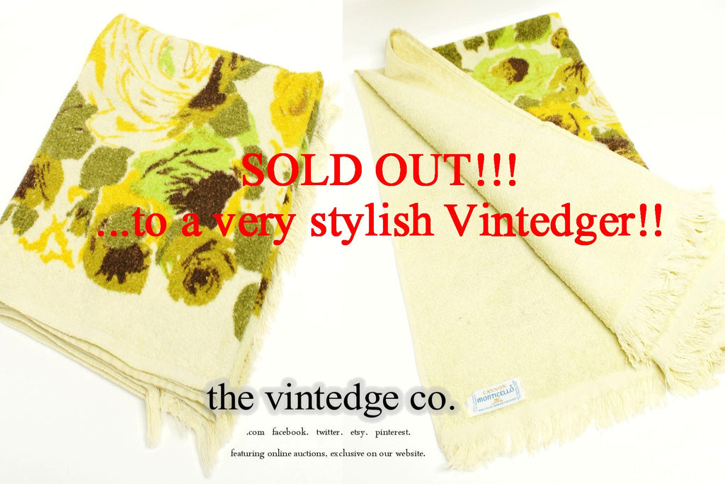 SOLD - Vintage Towel Yellow Floral