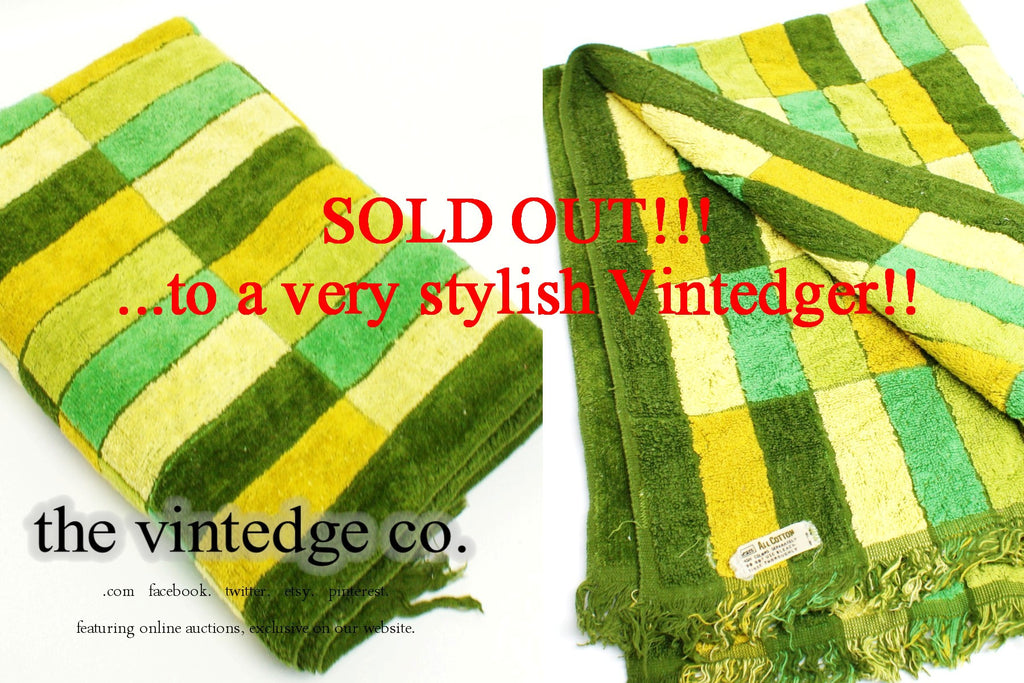 SOLD - Vintage Towel Blue Green Mosaic