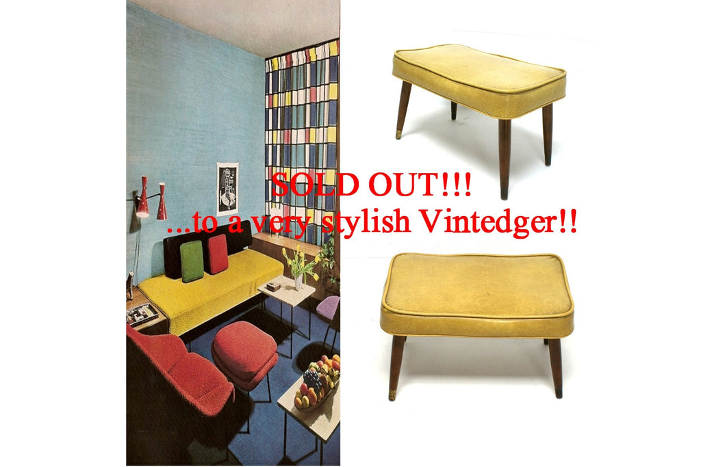 SOLD - 60's MCM Yellow Ottoman