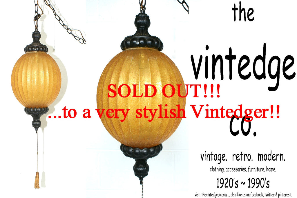 SOLD - MCM 60's Yellow Swag Lamp