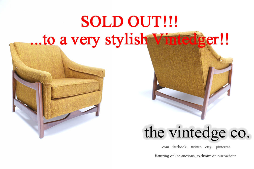 SOLD - 60's MCM Yellow Sofa Rocker Chair