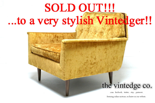 SOLD - 60's MCM Yellow Sofa Chair