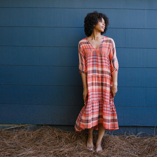 SAVANNAH DRESS | long sleeved plaid
