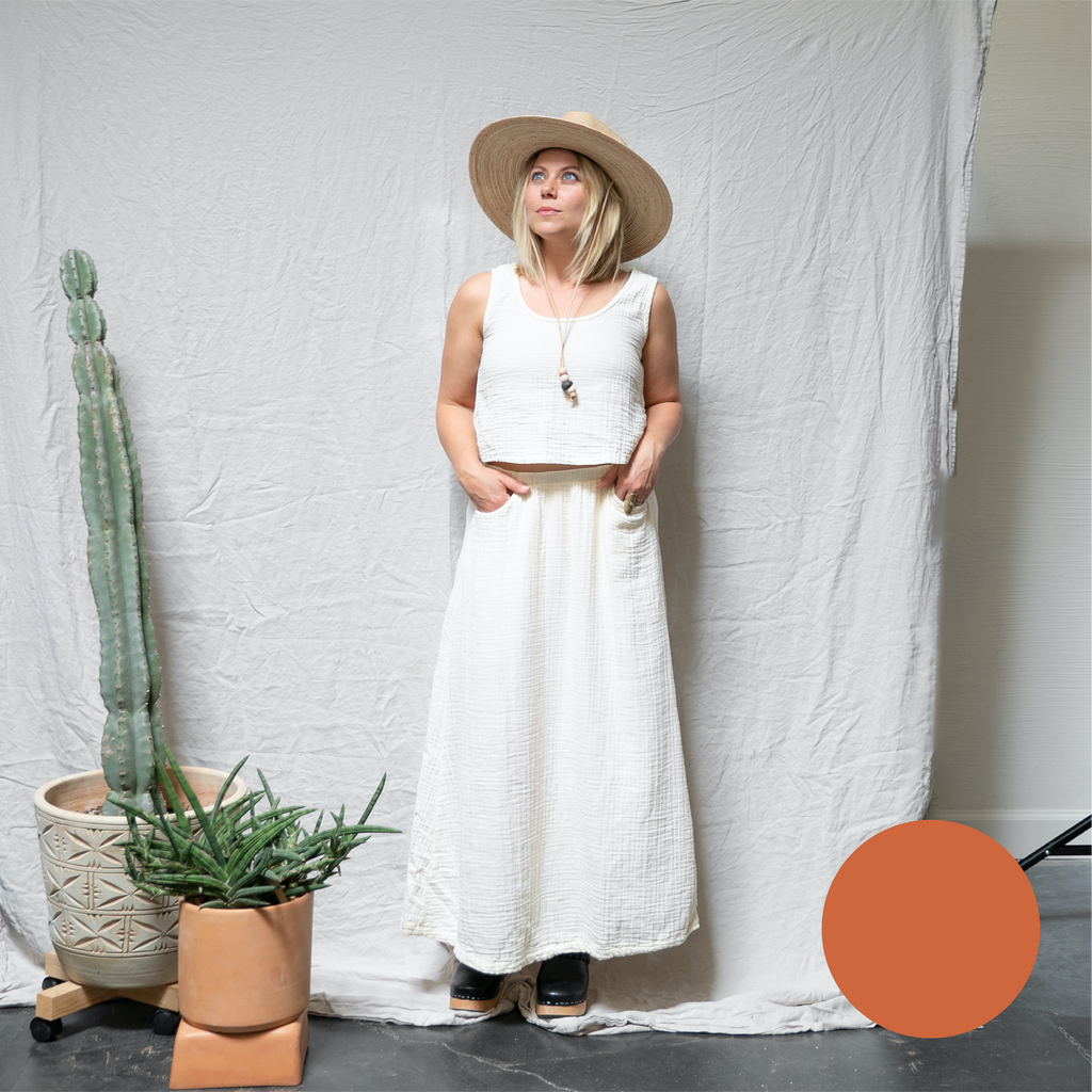summer skirt | organic cotton gauze | washed poppy