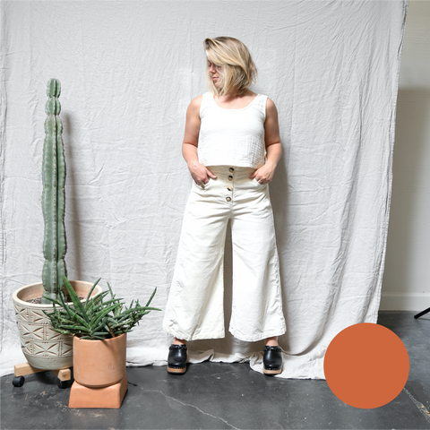 sunrise pant | stretch corduroy | washed poppy