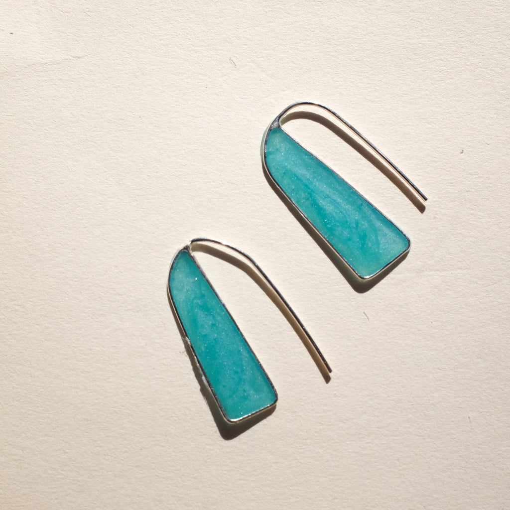 Emily's | THE BAR EARRING | mini teal silver