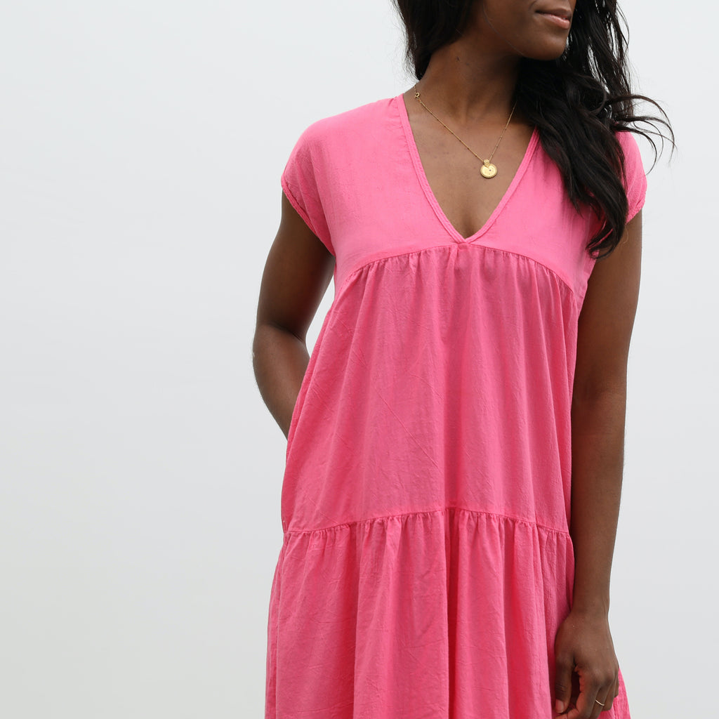 short sleeve savannah dress | bright pink