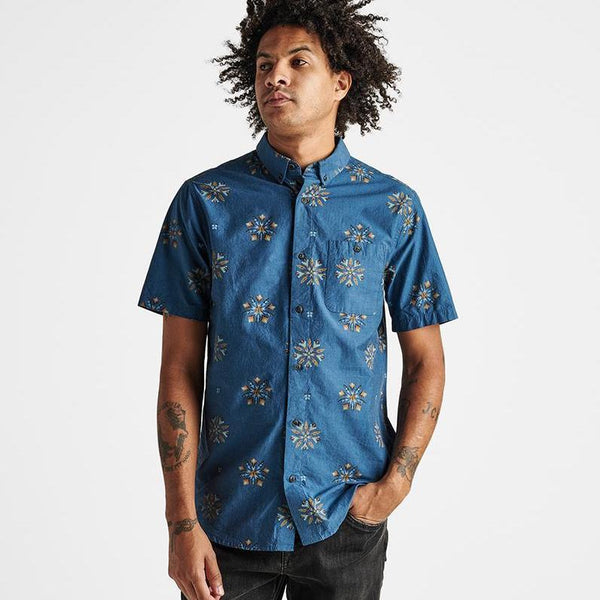Roark | FIRE IN THE SKY BUTTON UP | indigo