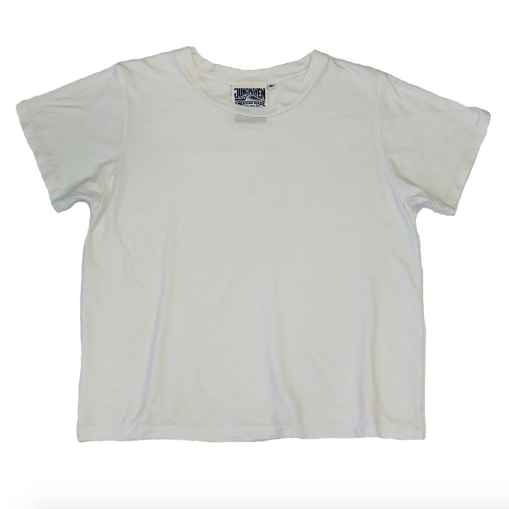 Jungmaven | CROPPED OJAI tee | washed white