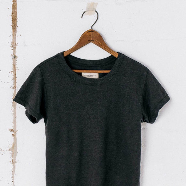 imogene + willie | LINEN COTTON ARCHIVE TEE | black