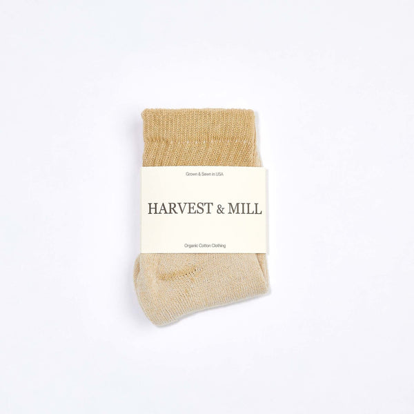 Harvest & Mill | ORGANIC ANKLE SOCK | tan green