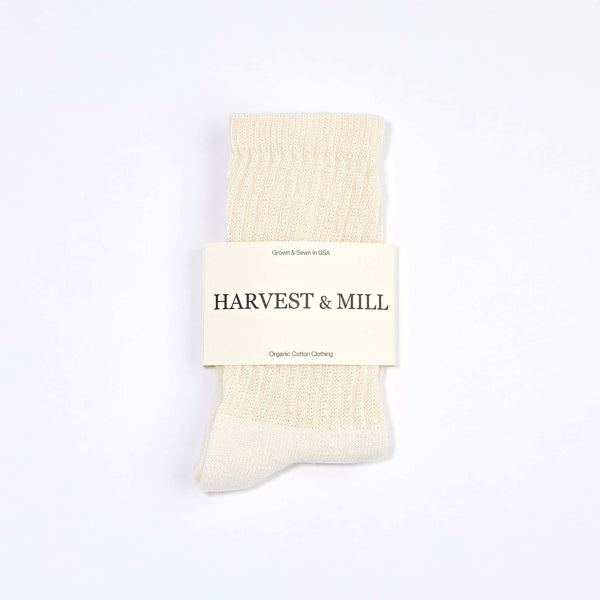 Harvest & Mill | ORGANIC CREW SOCK | white natural