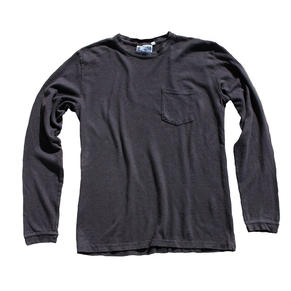 Jungmaven | BAJA long sleeve pocket tee | washed black
