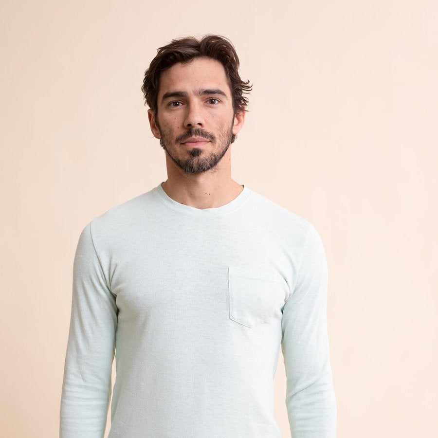 Jungmaven | BAJA long sleeve pocket tee | washed white