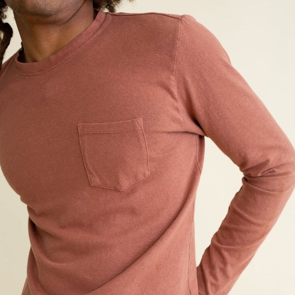 Jungmaven | BAJA long sleeve pocket tee | terracotta