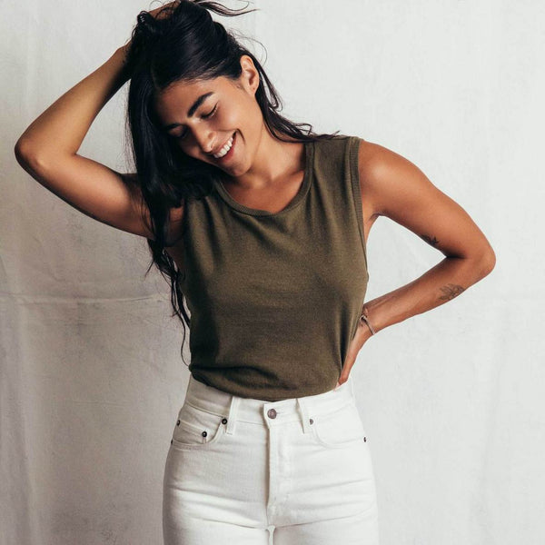 imogene + willie | LINEN COTTON MUSCLE TEE | olive