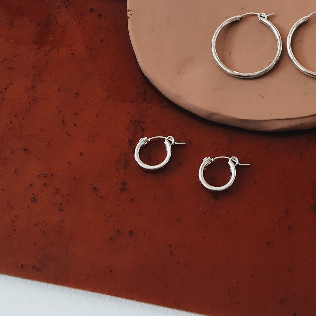 Tumble | THICK SILVER HOOPS | mini