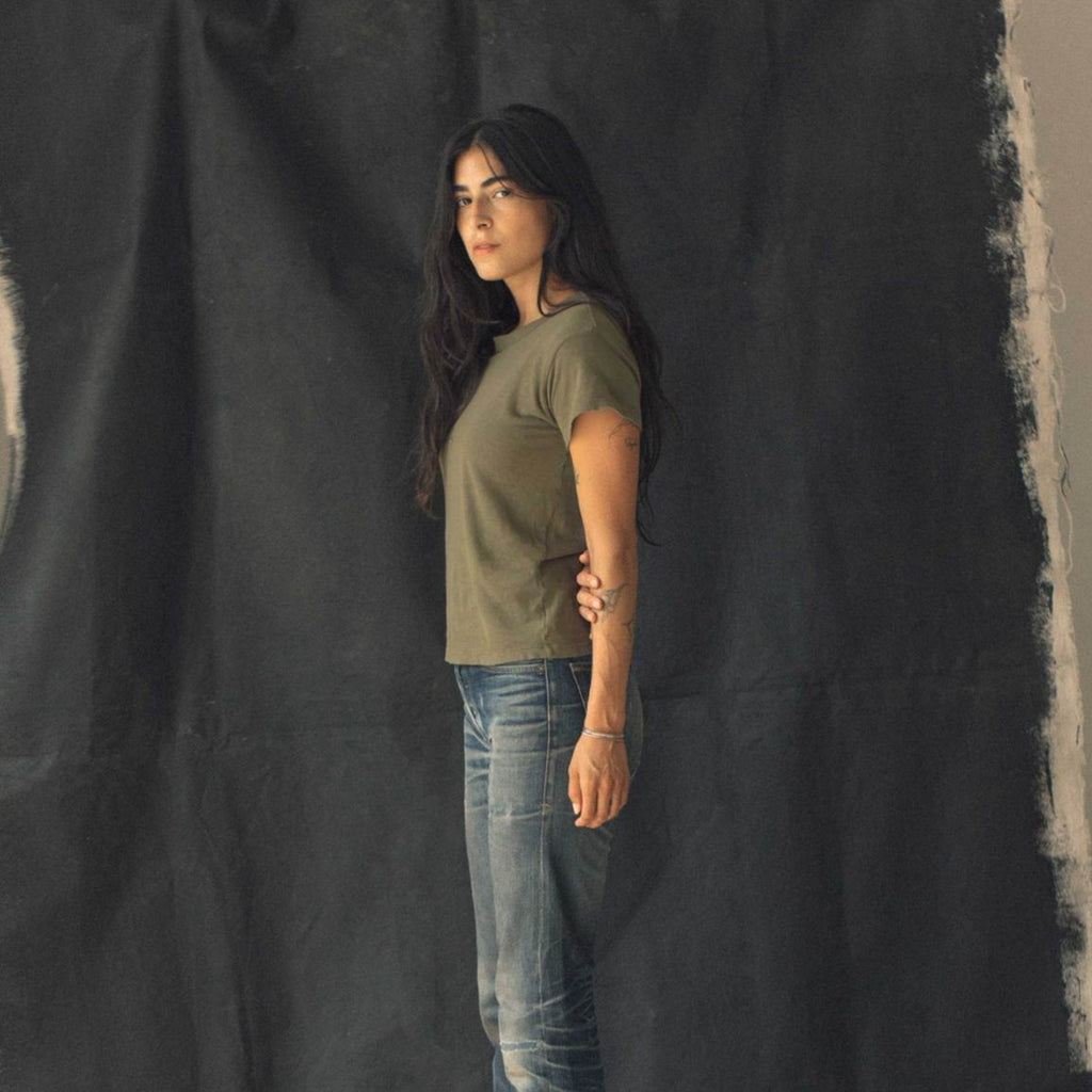 imogene + willie | LINEN COTTON ARCHIVE TEE | olive