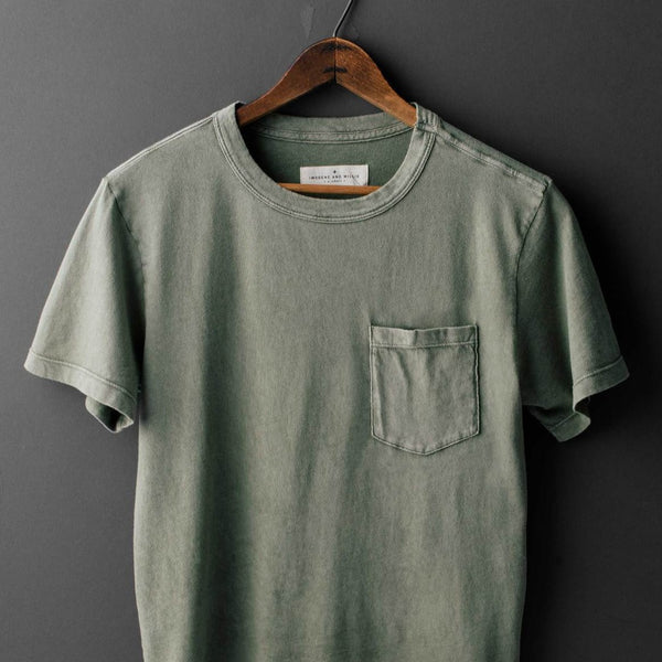 imogene & willie | SUNFADED POCKET TEE | olive