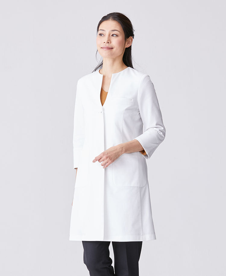 Classico Women`s No Collar Jersey Lab Coat, LUXE White