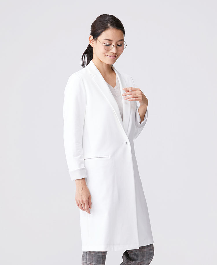 Classico Women's JERSEY LAB COAT LUXE White