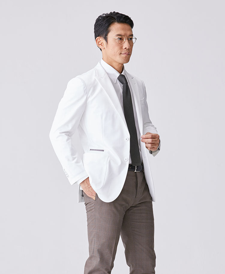 Classico Men`s Jersey Jacket, LUXE White