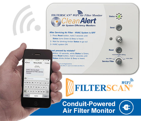 FILTERSCAN® WiFi HOME - CONDUIT-Powered Air Filter Monitor (DIFM)