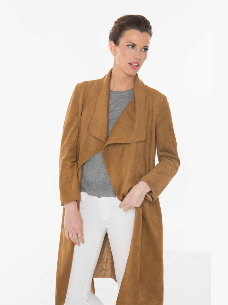 Faux Suede Wrap Jacket