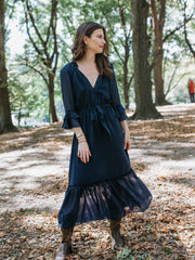 Navy Chiffon Harper Dress