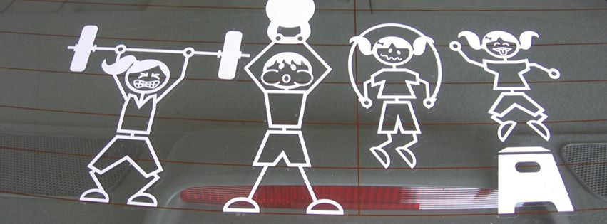 Family WOD Stick People Custom Auto Decals