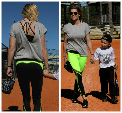 CrossFit Mom Stacy Osborn in Amelia Neon and Black Leggings and strappy Vitality Sports Bra rom WODSuperStore.com