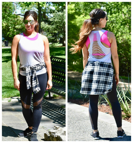 Fashion Blogger Vanessa Cantu in Amelia Leggings with Mesh panels and Serena Open Back Sports Bra from WODSuperStore.com