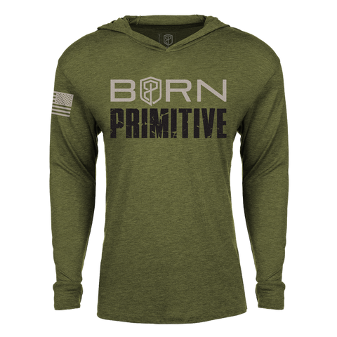 Born Primitive Unisex Long Sleeve T-Shirt Hoodie (Military Green)
