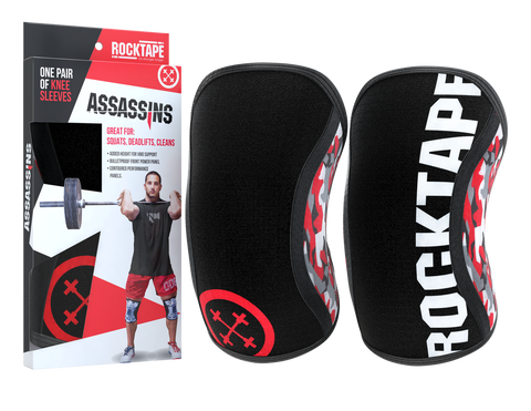 Rocktape Assassin Knee Caps in Red Camo with package | WODSuperStore.com