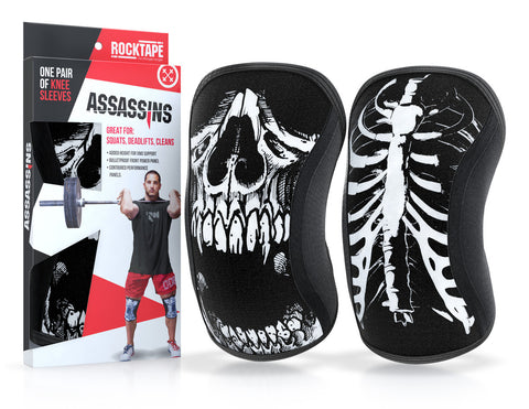 Rocktape Assassin Knee Caps in Skull with package | WODSuperStore.com