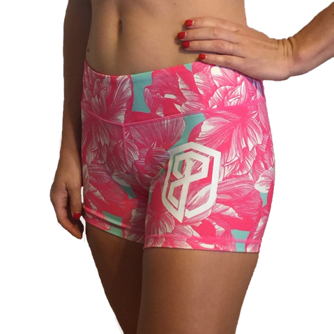 Born Primitive Double Take Booty Shorts (Mint Hibiscus)