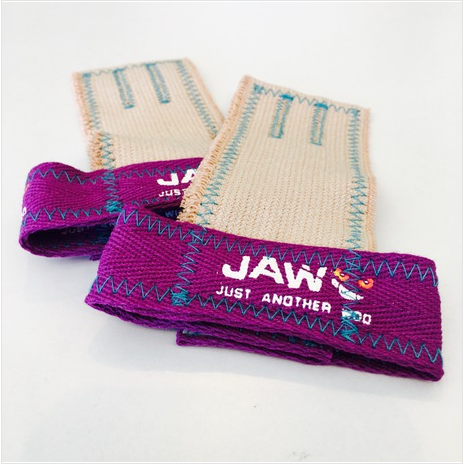 Just Another WOD | JAW  Pullup Grips Purple With Aqua Stitching