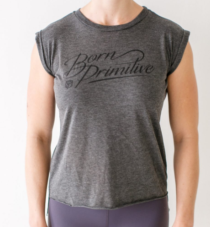 Born Primitive Accent Muscle Tee (Dark Heather Grey)